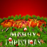Merry Christmas greeting card with gift boxes Stock Photo