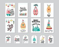 Merry Christmas greeting card and gift tag set with cute bear, santa, deer, gifts, noel and lettering. Doodle style Royalty Free Stock Images