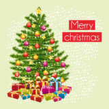 Merry christmas greeting card with the gifts under the tree. Royalty Free Stock Photography