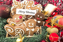 Merry Christmas Greeting Card  with Gingerbread Cookies Stock Photos