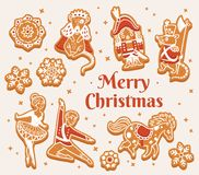 Merry Christmas greeting card with gingerbread cookies as Nutcracker characters. Merry Christmas card with gingerbread cookies - Nutcracker characters. Winter Stock Image