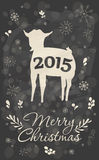 Merry Christmas Greeting Card. With goat on chalkboard background. Symbol of the 2015 year. Vector illustration. Holiday design. Winter vector illustration