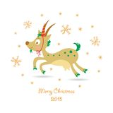 Merry Christmas greeting card with a goat. Happy new 2015 year postcard royalty free illustration