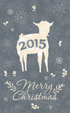 Merry Christmas Greeting Card. With goat. Symbol of the 2015 year. Vector illustration. Holiday design. Winter stock illustration