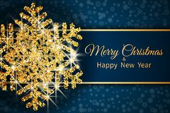 Merry Christmas greeting card. Gold snowflake on Dark blue background. Merry Christmas and Happy New Year text. Vector Illustration vector illustration