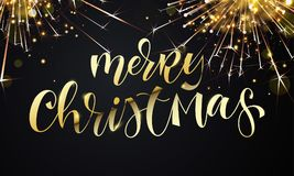 Merry Christmas greeting card and golden calligraphy lettering on sparkler glittering fireworks or gold glitter confetti. Vector p. Remium black sparkling Stock Photos