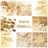 Merry christmas greeting card. Golden decorations Royalty Free Stock Images