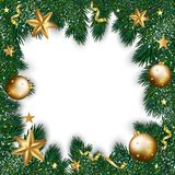 Merry Christmas greeting card of golden decorations on Christmas. Pine or fir tree on white background. Vector design for New Year winter holiday season Stock Photo