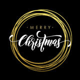 Merry Christmas greeting card golden glitter decoration. Merry Christmas gold greeting card. Golden sparkling decoration ornament of circle of and text Royalty Free Stock Photo