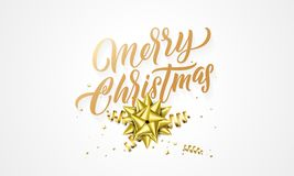 Merry Christmas greeting card golden glittering hand drawn calligraphy text and golden decoration background design template royalty free illustration