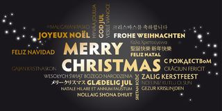 Merry christmas greeting card with golden letters in different l. Anguages on black background Royalty Free Stock Image