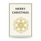 Merry Christmas greeting card golden snowflake. Minimalistic Merry Christmas greeting card. Creme background. Golden snowflake with glitter sequins. Stylish royalty free illustration