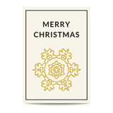 Merry Christmas greeting card golden snowflake. Minimalistic Merry Christmas greeting card. Creme background. Golden snowflake with glitter sequins. Stylish vector illustration
