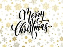 Merry Christmas greeting card vector golden snowflakes pattern New Year design background Stock Photos