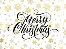 Merry Christmas greeting card of golden snowflakes and gold glittering stars pattern on premium background. Vector Christmas or Ne. W Year wish calligraphy text Royalty Free Stock Image