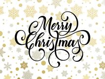 Merry Christmas greeting card of golden snowflakes and gold glittering stars. Pattern on premium background. Vector Christmas or New Year wish calligraphy text Stock Photos