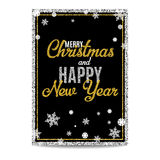 Merry Christmas greeting card golden text and snowflakes. Merry Christmas greeting card. Black background. Golden and silver text. Snowflakes and frames. Glitter vector illustration