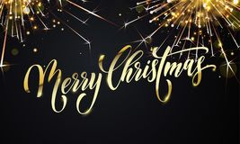 Merry Christmas greeting card vector golden fireworks glitter New Year design background. Merry Christmas greeting card and golden wish calligraphy lettering on Stock Photos