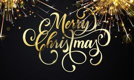 Merry Christmas greeting card and golden wish calligraphy lettering. On sparkler glittering fireworks or gold glitter confetti. Vector premium black sparkling Stock Images