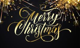 Merry Christmas greeting card and golden wish calligraphy lettering on sparkler glittering fireworks or gold glitter confetti. Vec. Tor premium black sparkling Royalty Free Stock Photography