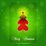 Merry Christmas greeting card. Green winter illustration Stock Photos