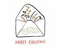 Merry Christmas greeting card with hand drawn envelope and inscriptions stock illustration