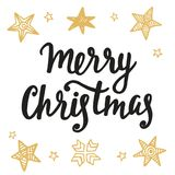 Merry Christmas greeting card. Hand lettering in golden and black colors. Trendy typography design for placards, labels, badges, posters, banners. Modern Stock Photo