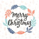 Merry Christmas greeting card. Hand lettering. Trendy typography design for placards, sticker labels, badges, posters, banners. Modern calligraphy. Holiday Stock Images
