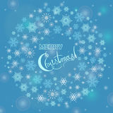 Merry Christmas greeting card with hand lettering text Stock Images