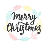 Merry Christmas greeting card. Hand lettering. Trendy typography design for placards, sticker labels, badges, posters, banners. Modern calligraphy. Holiday Royalty Free Stock Photography