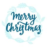 Merry Christmas greeting card. Hand lettering. Trendy typography design for placards, sticker labels, badges, posters, banners. Modern calligraphy. Holiday Royalty Free Stock Photo