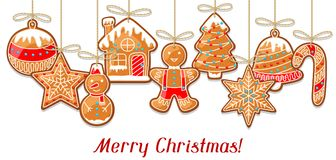 Merry Christmas greeting card with hanging gingerbread.  Stock Image
