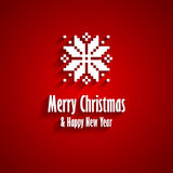 Merry Christmas greeting card. Merry Christmas and Happy New Year red greeting card with white snowflake Stock Image