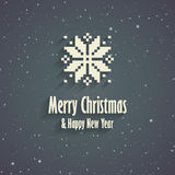 Merry Christmas greeting card. Merry Christmas and Happy New Year greeting card with snowflake Stock Photography