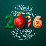 Merry Christmas 2016 greeting card Stock Images
