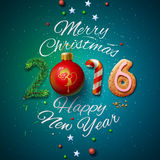 Merry Christmas 2016 greeting card. Merry Christmas and Happy New Year 2016 greeting card, vector illustration Royalty Free Stock Photo