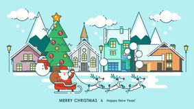 Merry Christmas greeting card winter city and Santa. Happy New year wishes. Poster in flat line modern style. Merry Christmas greeting card. Happy New year Stock Image