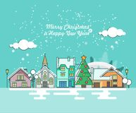 Merry Christmas greeting card with winter city. Happy New year wishes. Poster in flat line modern style. Merry Christmas greeting card. Happy New year wishes Royalty Free Stock Photography