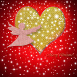 Merry Christmas greeting card heart and angel Royalty Free Stock Photo