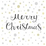 Merry Christmas calligraphy lettering greeting card. Merry Christmas greeting card. Holiday calligraphic lettering design. Vector illustration Royalty Free Stock Photos