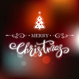 Merry Christmas greeting card. Holiday lettering design. Merry Christmas greeting card with decorative Christmas tree. Holiday lettering design Royalty Free Stock Image