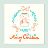 Merry Christmas. Greeting card with holidays symbols Stock Image