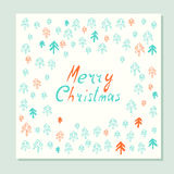 Merry Christmas. Greeting card with holidays symbols. Stock Photo