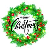 Merry Christmas greeting card vector wreath decoration New Year design template. Merry Christmas greeting card of holy and fir or pine wreath and Christmas Royalty Free Stock Photo
