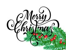 Merry Christmas greeting card of holy on snow white background. Vector winter holiday calligraphy wish text lettering design and N Stock Photography