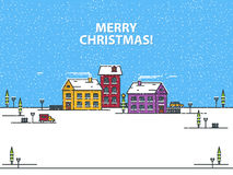 Merry Christmas greeting card with houses on a blue background. Outline vector illustration. Merry Christmas greeting card with houses on a blue background Royalty Free Stock Photography