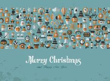 Merry Christmas. Greeting card. icons Stock Photo