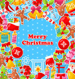 Merry Christmas Greeting Card. Illustration Merry Christmas Greeting Card with Traditional Colorful Objects - Vector Stock Images