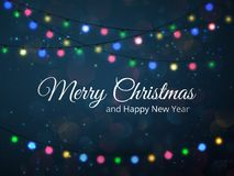 Merry Christmas greeting card illustration. vector festive background with lights. Royalty Free Stock Image