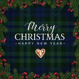 Merry Christmas greeting card, invitation with Christmas tree branches, red berries border and gingerbread cookie. White. Text over tartan checkered plaid vector illustration